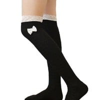 Asoidchi Women Knee High Crochet Lace Bow Footed Leg Warmers Boot Socks