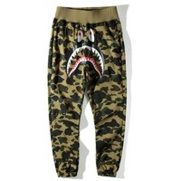 Hot ! Bape Aape Shark Trending Unisex Causal Camouflage Print Sport Pants Trousers Army Green