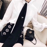 """Dior"" Women Temperament Fashion Bee Embroidery Necktie Long Sleeve Shirt Double Row Buttons Short Skirt Set Two-Piece"