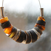 Eco Friendly Necklace / Earthy Jewelry / Honey Baltic Amber / Brown Yellow Black / Statement Necklace / Warm Colors / Natural Rustic Fashion