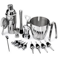 16-Piece Stainless Steel Wine and Cocktail Bartender Kit