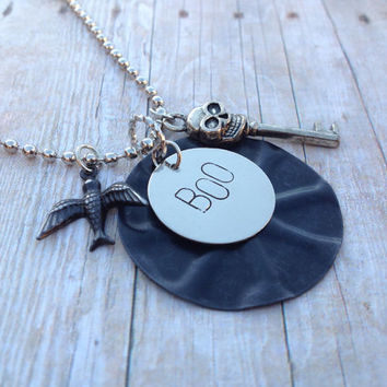 Silver Halloween Necklace, Skull Key Black Bird Stamped Boo Embossed