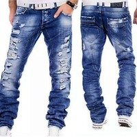 Denim Handsome Straight Distressed Jeans In Wash Blue Casual Pants for Men