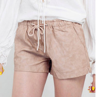 Khaki PU Shorts with Tie Waist not available