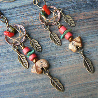 jasper zuni bear dreamcatcher earrings turquoise red coral in tribal natibve american inspired boho hippie belly dancer and hipster style