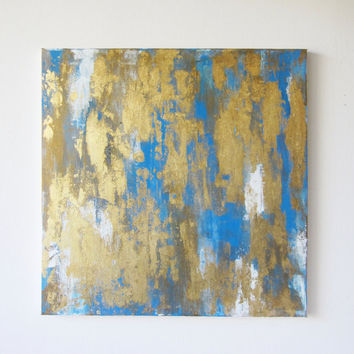 """Abstract Blue White Gold Painting 24"""" x 24"""""""