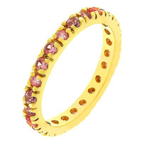 Pink Cubic Zirconia Eternity Ring, size : 10