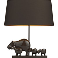 Hippo Table Lamp Brown complete with Shade
