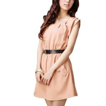 Ladies Sleeveless Pullover Casual Elastic Waist Summer Mini Dress