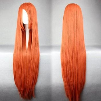 100cm Red Orange Cosplay Anime Wig