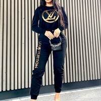 LV 2019 new women's fashion printing casual autumn and winter two-piece