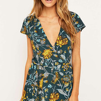 Kimchi Blue Anita Green Floral Playsuit - Urban Outfitters