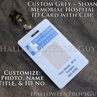 Grey's Anatomy Grey-Sloan or Mercy-West Version Custom Card with Clip.  Your Choice of Style.