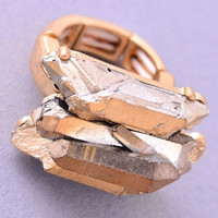 Chunky Mineral Stretch Ring - Gold, Silver or Moonstone