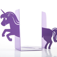 Bookends - Unicorn - laser cut from metal strong enough to hold books