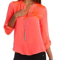 Mandarin V-Neck Flyaway Tunic Top by Charlotte Russe - Neon Coral