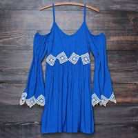 FINAL SALE - boho babe crochet accent bell sleeves festival dress in cobalt blue