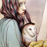 The Girl and the Owl Art Print by Michael Shapcott | Society6