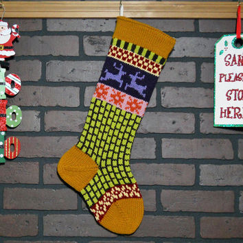 Personalized Christmas Stocking in Gold with reindeer, Hand Knit Christmas Stocking, Fair Isle Knit, Housewarming/ Wedding/ Baby Gift