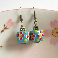 Blue Cube Glass Earrings, Polka Dot Flower Glass Bead, Antiqued Brass, Retro Earrings, Turquoise Blue, Floral Jewelry