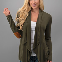 Cardigan with Elbow Patches - Olive