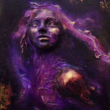 AVAILABLE: Purple Heart. Wall Sculpture, Original art by Fae Factory Artist, Dr Franky Dolan (clay relief & canvas painting art) {SEE VIDEO}