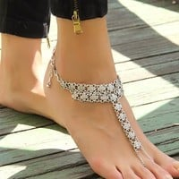 New Charm Silver Anklets for Women Ankle Bracelet Chain Foot Jewelry Ankle Bracelet Adjustable (Color: White) = 5658259777