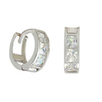 10k White Gold Tiny Huggie Hoop Earrings Square CZ Cubic Zirconia 9mm x 3mm