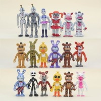 6Pcs/ lot  At  Action Figure Toy  Bonnie Foxy Chica Freddy Doll Toys For Kids As Gift