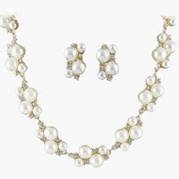 Pearl Cluster Earrings and Necklace Set