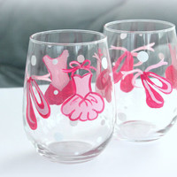 Hand Painted Dance/ Ballet  Wine Glasses, Ballet shoes and Pink Tutu s Dance teacher gift Set of two