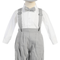 Boys Light Gray Linen Blend Suspender Knicker Shorts Set 3m-5