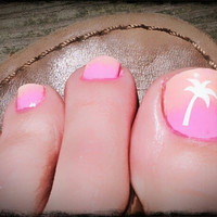 Tropical Palm Tree Vinyl Toe nail Decals