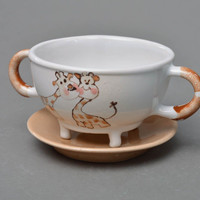 Handmade large porcelain glaze cup with two handles on legs for kids Giraffes