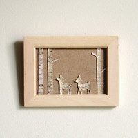 Fawns in the white birch forest  organic wall by virtualdesignlab