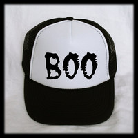Boo Trucker Hat Cap Mesh Snap Back Snapback Halloween Goth Ghost Costume Cosplay