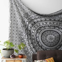 Black and White Tapestries Elephant Mandala Hippie Tapestry Indian Traditional T...