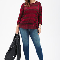 FOREVER 21 PLUS Layered Shadow-Stripe Vented Top Magenta/Black