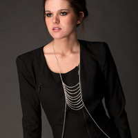 Silver Multi Layer Body Chain