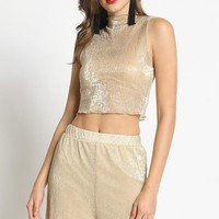 Gold Member Sheer Metallic Crop Top in Gold