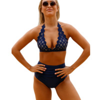 Fashion dark blue print scalloped high waist two piece bikini