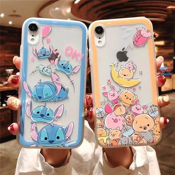 Minnie Mouse Stitch Pooh Winnie Cat Chipmunk Donald Duck Clear Embossed Case For iPhone XS Max XR X 6 6S 7 8 Plus