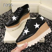 LTTL 2017 Hot Women Lace Up British Style Star Platform Shoes Fashion Square Toe Weave Flat Heels Gladiator Casual Shoes