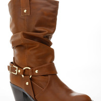 Faux Leather Chunky Western Cow Girl Boots