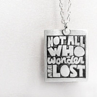 Not all who wander are lost necklace -  Silver inspirational quote jewelry