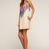 Tribal Print Sleeveless Dress - Buttercream
