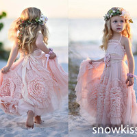 New pretty blush pink ankle-length beach tulle flower girl dress nice sleeveless backless boho kids birthday party prom gowns