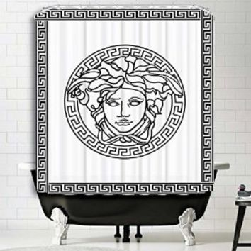 "Versace Brand White Logo Shower Curtain Print Polyester High Quality Digital Print Fabric Art Painting Design Home Decor Bathroom (66"" x 72"")"