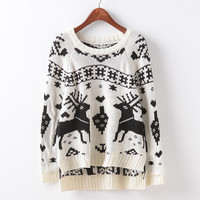 Round-neck Stylish Christmas Long Sleeve Print Deer  Sweater [9017747204]