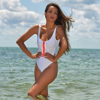 2016 new sexy One Pieces Triangle Swimwears vest Zip monokini conjoined push up siamese swimsuit women bathing suit High cut
